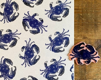 Rubber stamp crab   hand carved stamp   mounted or unmounted   stamping   crab   sea food    crab stamp