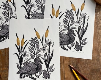 lino print    original printing   duck   cute illustration   fun print   print made with rubber stamps   limited edition
