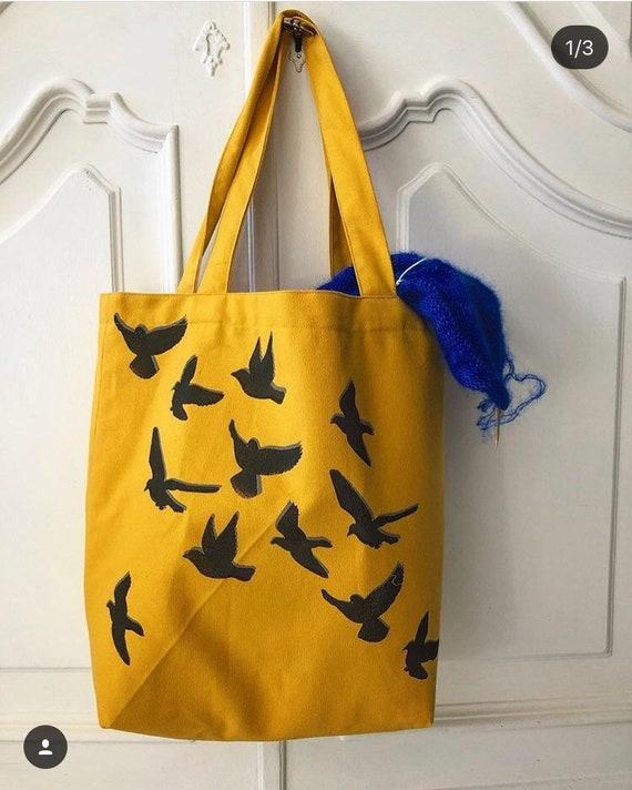 845b70dd72aa Tote bag coton bag market bag beach bag hand printed