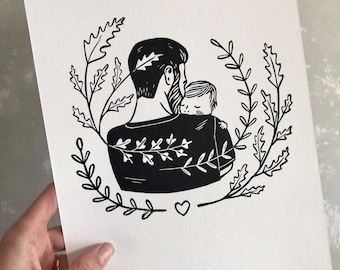 lino print    original printing   love   cute illustration   baby   limited edition   birth welcome illustration   Father's Day