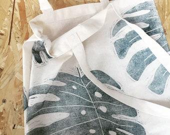 Tote bag | cotton bag | market bag | beach bag | two colours | monstera | hand printed | leaf print