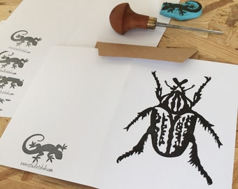 Postcard | snail mail | Rubber stamp | hand carved | hand printed postcard | beetle