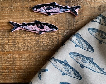 Rubber stamp fish   hand carved stamp   mounted or unmounted   stamping   fish   nature   fish stamp   mackerel