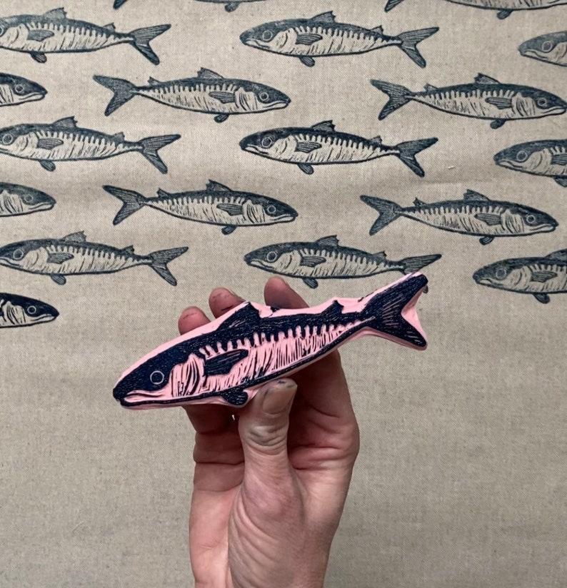 Rubber stamp fish hand carved stamp nature fish stamp mounted or unmounted mackerel stamping fish