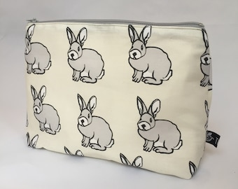 Zipper pouch | cosmetics bag | make-up bag |  printed design | pencil case |  rubber stamp | bunny