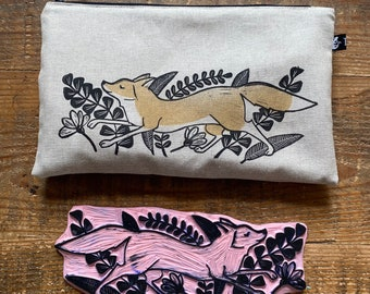 zipper pouch   pencil case   make-up bag   cosmetics bag    hand stamped print   fox   autumn
