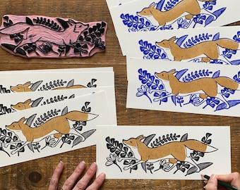 lino print    original printing   autumn   fox   illustration   animal print   print made with rubber block  