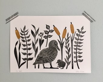 lino print |  original printing | duck | cute illustration | fun print | print made with rubber stamps | limited edition