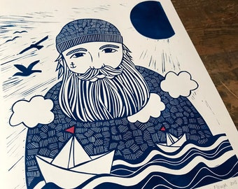 lino print    original printing   A3 size   sailor   illustration   sea print   print made with rubber block   limited edition  