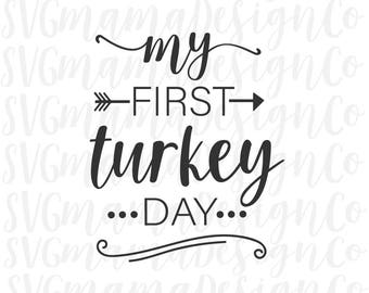 My First Thanksgiving Turkey Day SVG Vector Image Cut File for Cricut and Silhouette