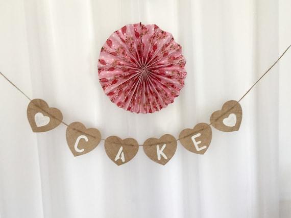 CAKE Burlap Bunting Hessian Banner Photoboot Bespoke  Rustic wedding