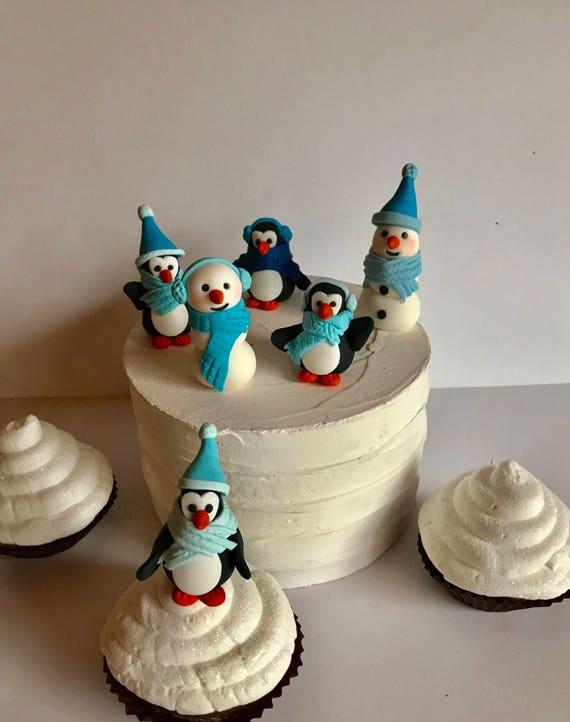 Surprising Fondant Winter Wonderland Cake Decoration Snowman Penguins Etsy Personalised Birthday Cards Veneteletsinfo