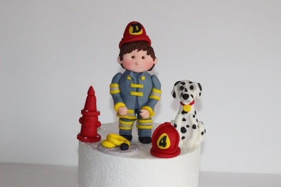 Awe Inspiring Fondant Firefighter Cake Decoration Fireman Birthday Cake Etsy Funny Birthday Cards Online Alyptdamsfinfo