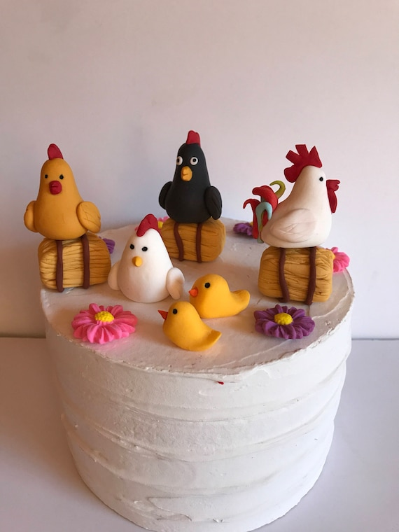 Fondant Chicken Coop Cake Decoration Retirement Party Birthday Etsy