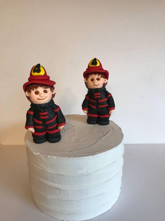 Fondant Firefighter Cake Decoration Fireman Birthday Cake Etsy