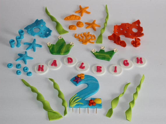 Fondant Under The Sea Cake Topper Decoration Large Age Number Topper for  Boys