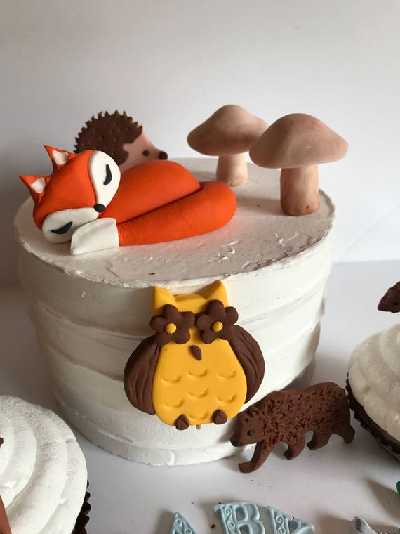 Fondant Woodland Animals Cake Decoration Fox Owl Mushrooms Flowers Baby Shower Birthday