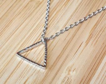 "Silver Triangle Necklace - Silver Necklace 45cm (17.5"") - Geometric Necklace - Geometric Jewelry - Dainty Necklace - Delicate Necklace"
