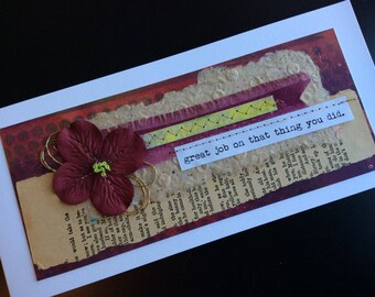 Handmade Art Card - Great Job on That Thing You Did