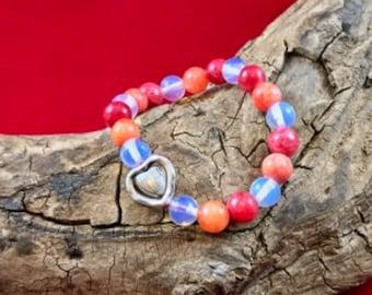 Handmade Gemstone Bracelet ~ Opalite, Orange/Red/Pink-Dyed Quartzite with Heart Charm