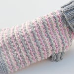 Pink and Grey Stiped Dog Sweater - Fall Petwear