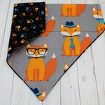 Colourful Fox Lover Dog Bandana - Cute Whimsical Fox Pup Neck Wear - Reversible Multi Coloured Paw Print Pet Scarf