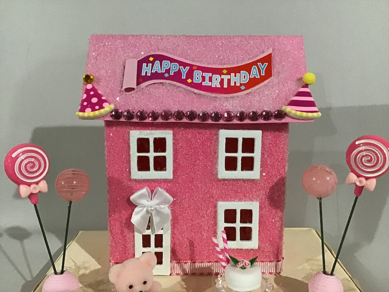 Joyeux Anniversaire Glitter Maison Heureux Anniversaire Putz Maison Banderole Joyeux Anniversaire Rose Et Fuschia Ballons Gâteau