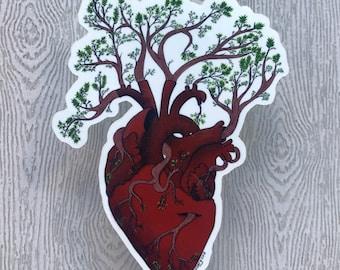 Tree Heart Sticker / weatherproof sticker/ scratch proof/ heart sticker/ tree sticker / laptop sticker / sticker/ small sticker