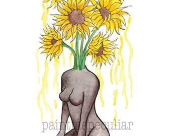 Sunflower Tears/ Art Print/ Small Art Print/ Woman Print/ Sunflower Print/ Flower Print/ Watercolor Print/ Watercolor artwork