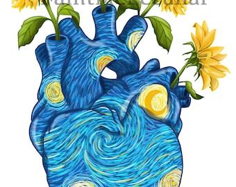 Starry Night Sunflower Heart/ art print/ wall decor / starry night/ sunflower art print