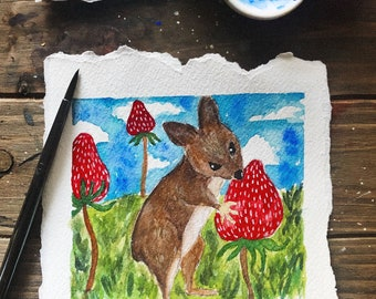 Small Mouse Eating Berries Watercolor Painting / watercolor painting