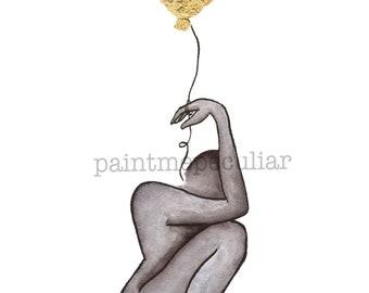 Holding On to Letting Go/ digital print/ gold leaf art /balloon art/ small print/ art print/ decorative print