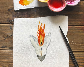 Mini Flame Watercolor Painting | inktober painting