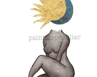 Total Eclipse/ Watercolor Art Print/ Watercolor Print/ Art Print/ Small Art Print/ Sun Moon Print/ Gold Leaf Art/ Woman Art / Decorative Art