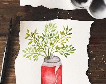 Mini Soda Can Watercolor Painting | inktober painting