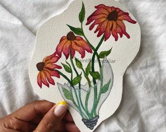 Mini Coneflower Watercolor Painting | Painting