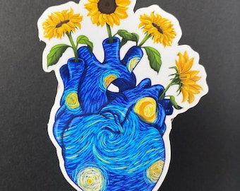 Starry Night Heart Sticker/ Starry Night sticker / weather proof sticker/ vinyl sticker / scratch proof sticker/ sunflower sticker