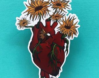 Sunflower Heart sticker/ sunflower sticker/ flower sticker/ heart sticker/ sticker/ laptop sticker /weatherproof sticker