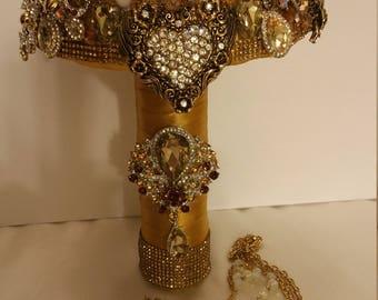 Gold Rhinestone Brooch Bouquet