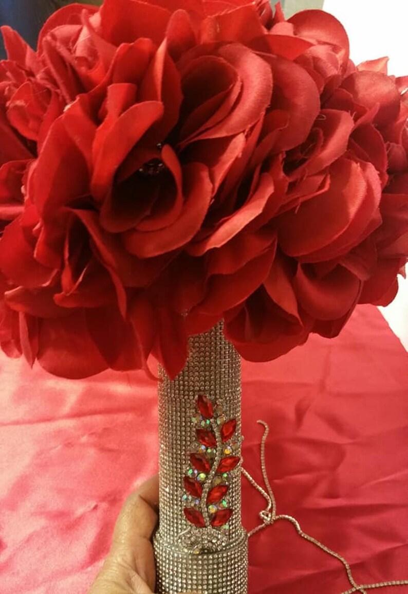 Red Roses Rhinestone Brooch Bouquet