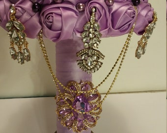 Lilac Satin Roses Brooch Bouquet
