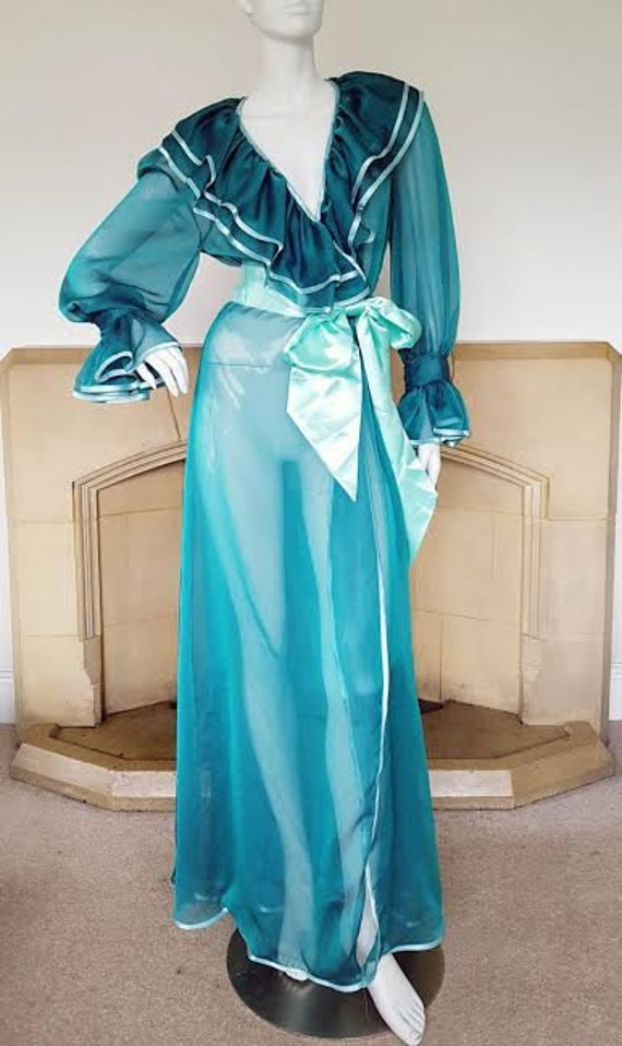 The Aqua Mermaid Jade Vixen Peignoir. Dressing Gown Robe that | Etsy