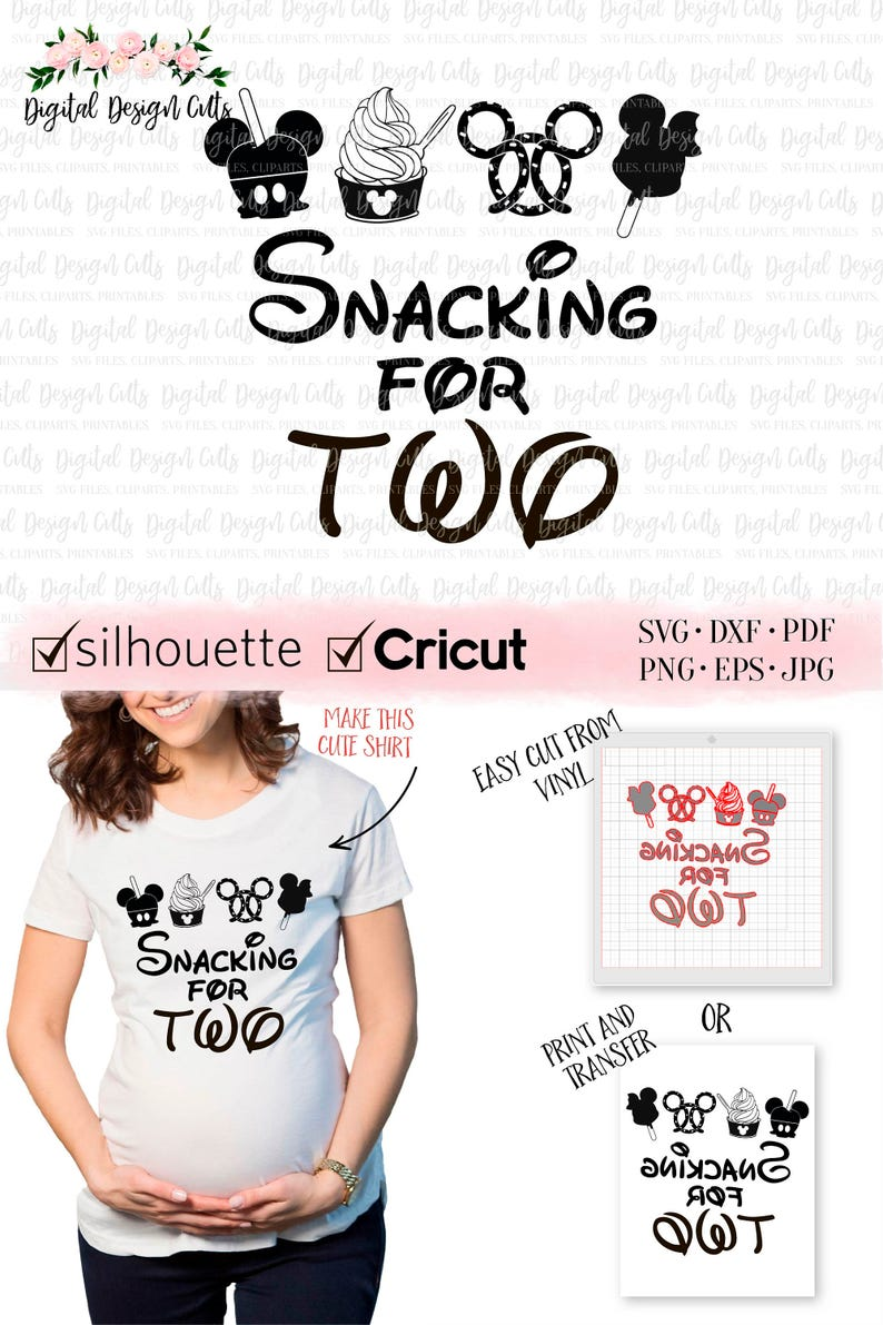 adee20d86fa Snacking for TWO SVG Maternity Disney Shirt Mom to be Disney