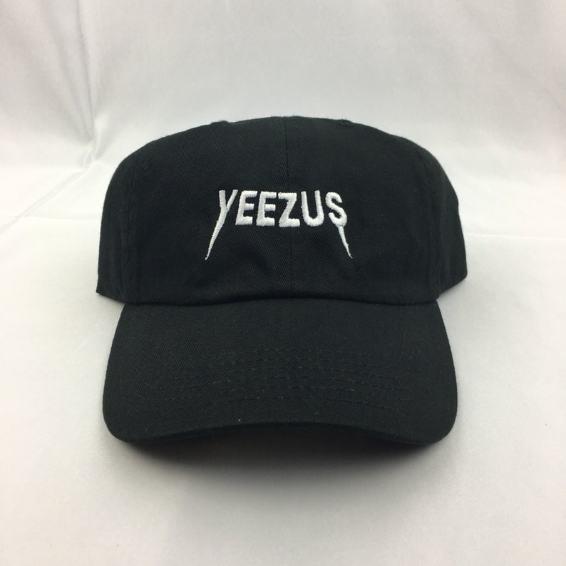 b35b0da73276c Black-Embroidered Yeezus Dad Hat Kanye YeezyKim Kardashian