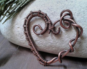 7 Year anniversary gift, copper heart pendant, wire wrapped, copper jewelry, gift for her