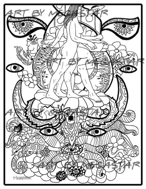 Download Printable Coloring Book Page Psychedelic Coloring Etsy