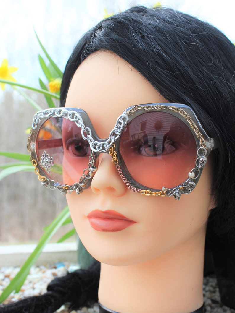 Hexagon Sunglasses with Various Chains - Bedazzled Adult Rave Sunglasses - Glam Sunglasses for Adults - Decorated Sunglasses - Unique Shades