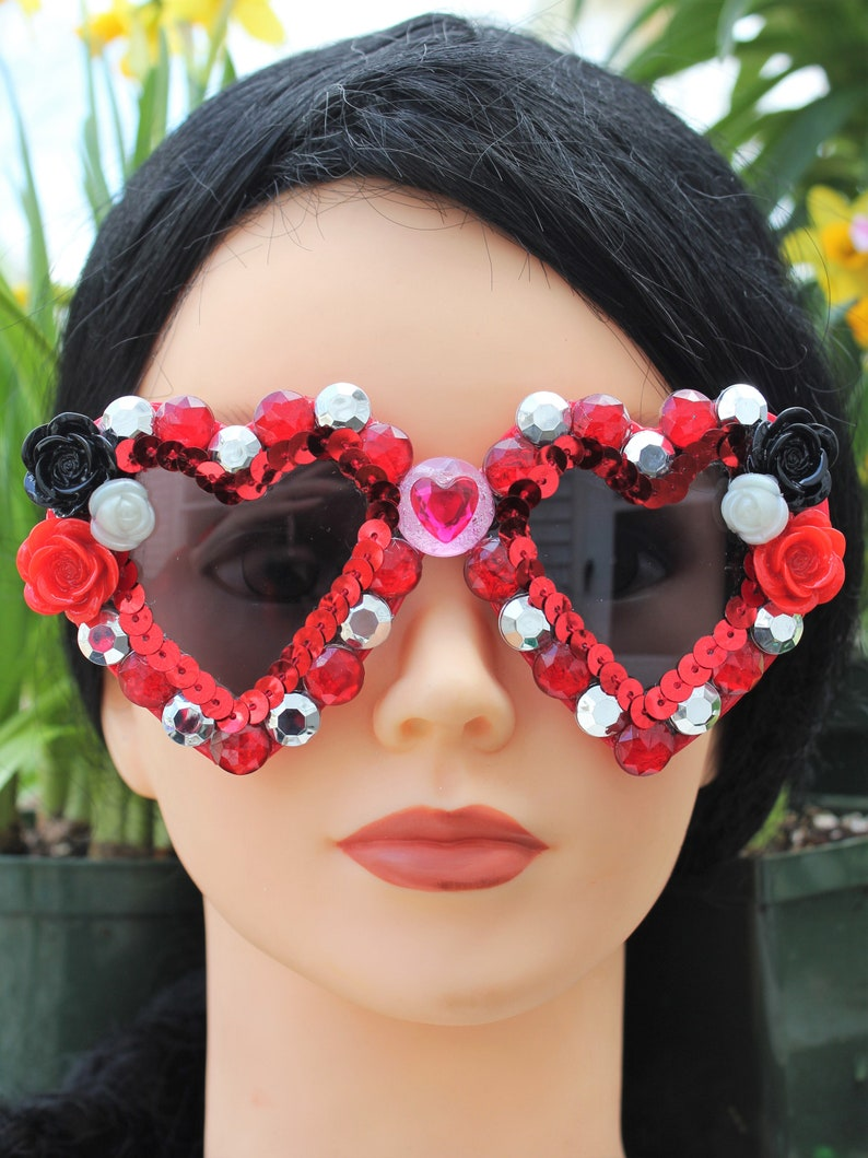 Red Black Silver Heart Shaped Bedazzled Adult Sunglasses - Hearts & Roses Sunglasses for Stylish Adults -Glam Decorated Heart Sunglasses