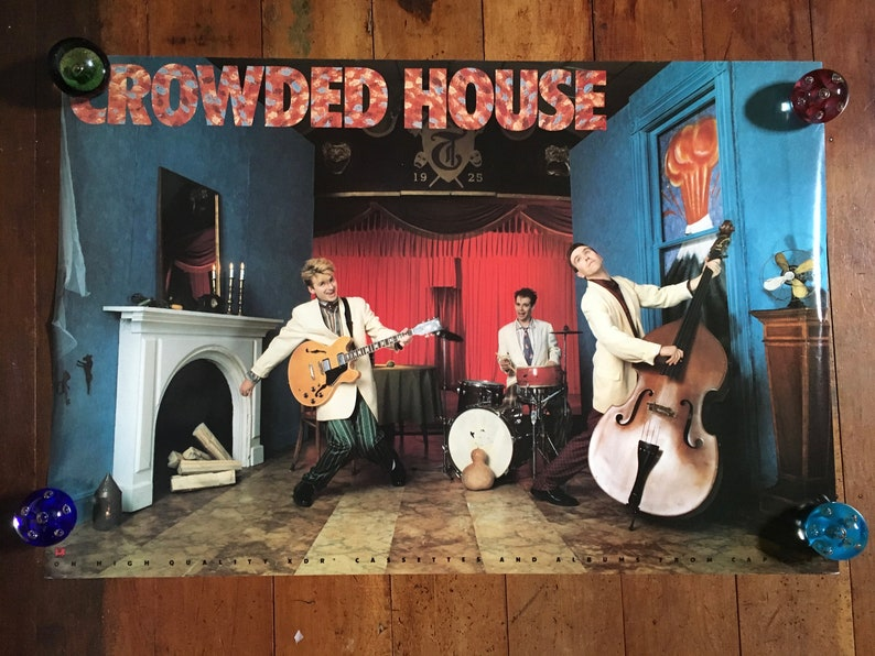 Excellent Crowded House 1986 Capitol Records Original Rare Vintage Music Poster Home Remodeling Inspirations Cosmcuboardxyz