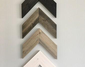 Wall Art 4 Piece Chevron, Rustic Unique Home Décor, Wooden , Wooden Chevron, Hanging Wood Arrow (4 piece)